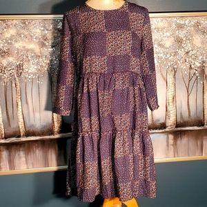 Andree blue tiered boho dress size Medium